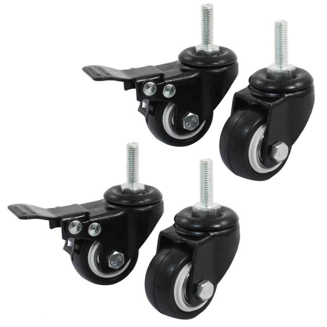 Shopping Wheel Trolley Brake Swivel Caster, 1.5-Inch, Black, 4-Piece - intl