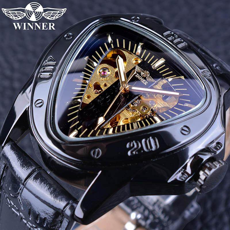 Men Steampunk Fashion Triangle Golden Skeleton Movement Mysterious Men Automatic Mechanical Wrist Watches Top Brand Luxury bán chạy
