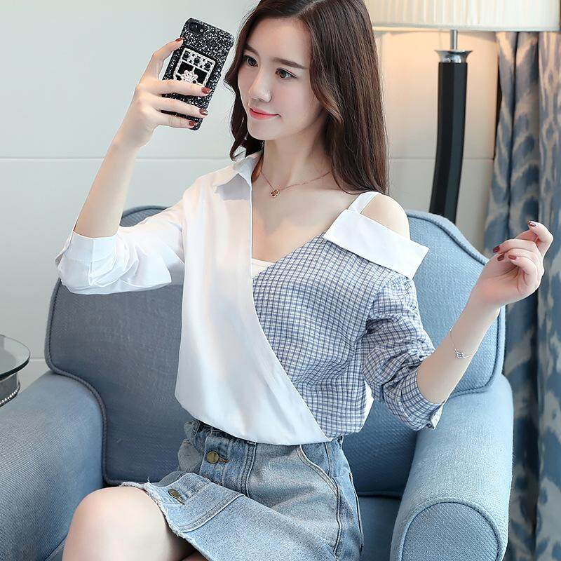 7b9afc8f7c7e2 New Spring Strapless Dress Fashion Color All match Slim Slim Shirt Female  Temperament Small Tide
