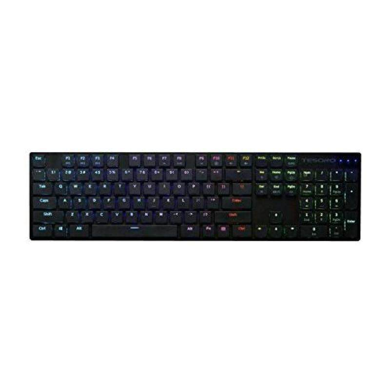 Tesoro Gram XS G12ULP Red Ultra-Slim Mechanical Switch Chicklet Style Beycap Full Color RGB LED Backlit Illuminated Mechanical Black Ultra-Low Profile Keyboard TS-G12ULP B (RD) Singapore