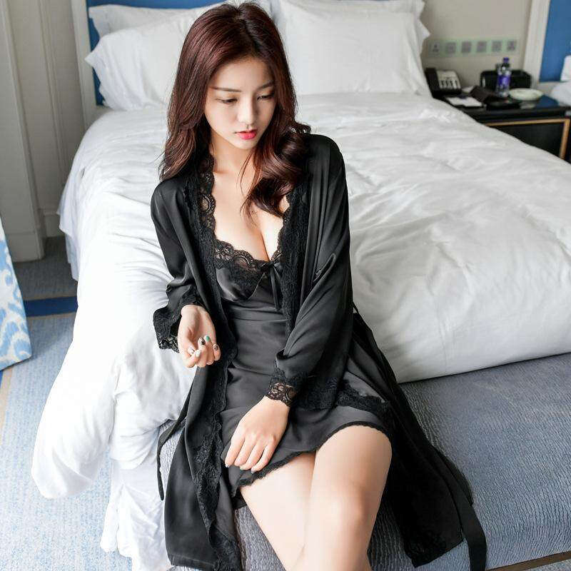 8ad97193fe 2Pcs Robe Set Homewear Women Gown Set Silk Stain Mini Nightdress Bathrobe  Lady Nightwear Twinset Sexy