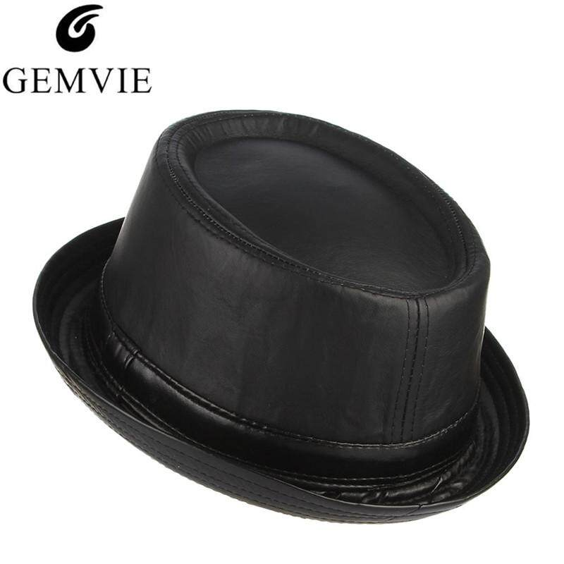 39312ef954e GEMVIE Autumn Winter Hats Men PU Leather Fedora Classical Roll Brim Jazz Cap  Vintage Top Hat