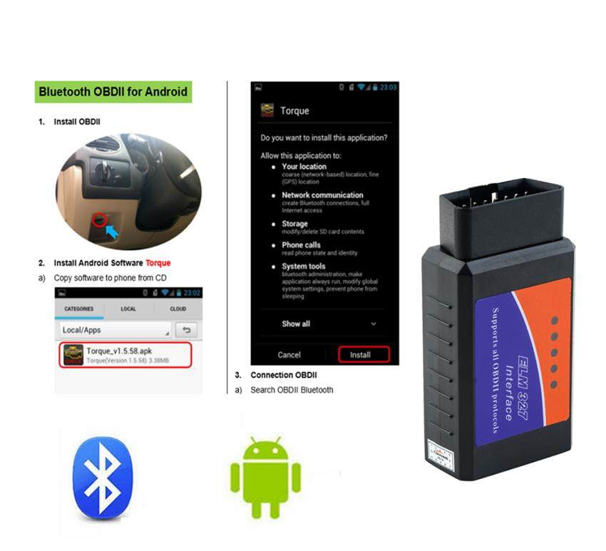 Bluetooth OBD2 Code Reader Scan Tool Universal Car Model Car Diagnostic  Auto Code Reader for Android IOS PC