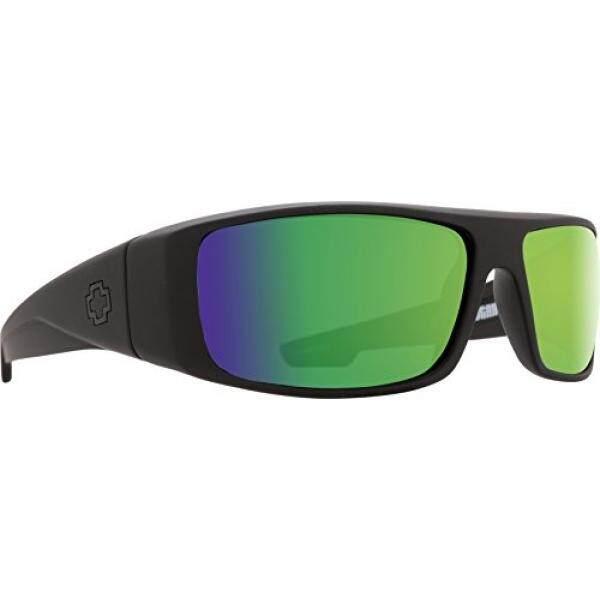 Spy Optic Kacamata Logan dengan Lensa Bahagia dan Trisula Polarisasi, Matte Black/Happy Perunggu Polar dengan Hijau Spectra-Intl