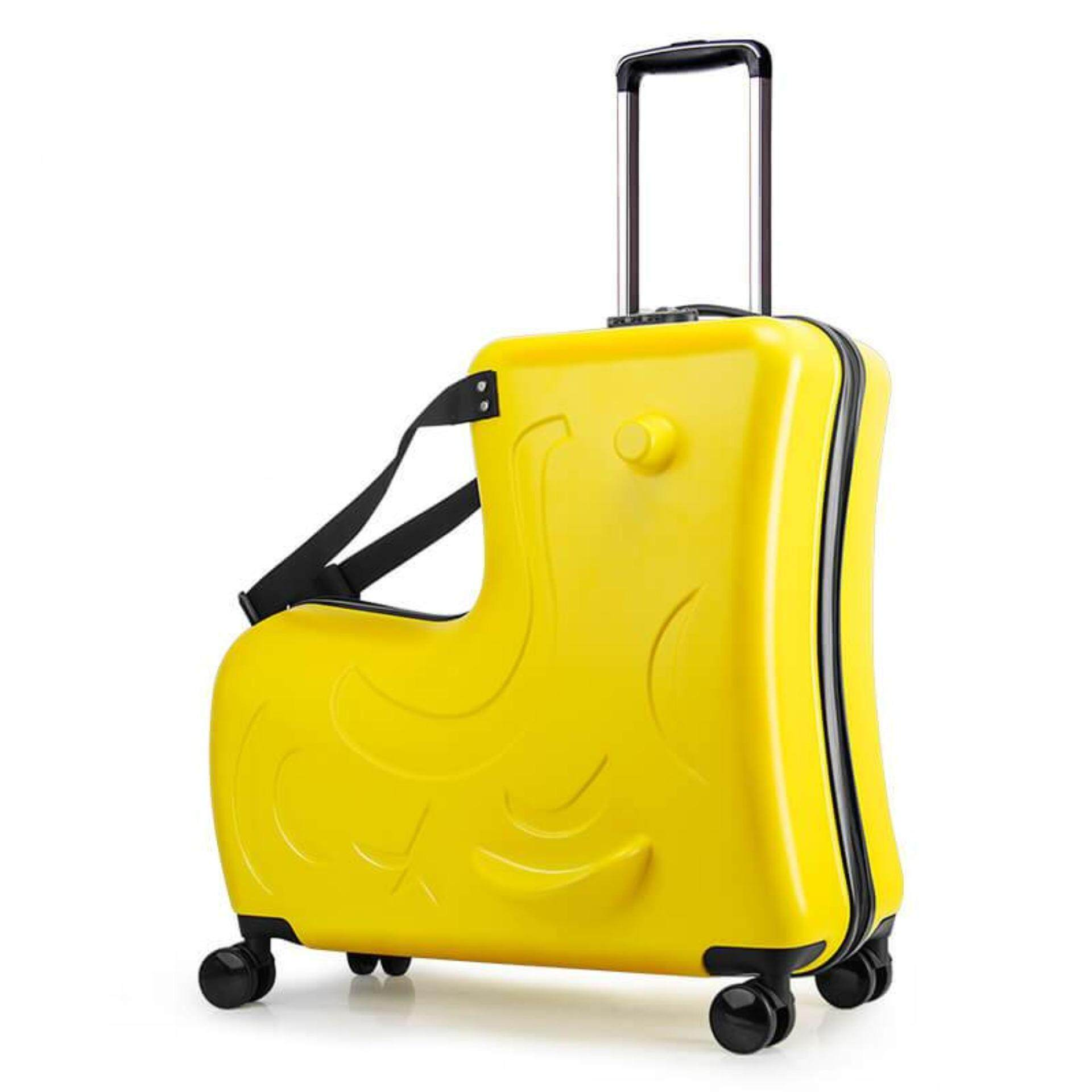 (Yellow Colour)20-inch Children's suitcase Can ride to ride trolley Universal wheel Cartoon Travel bags