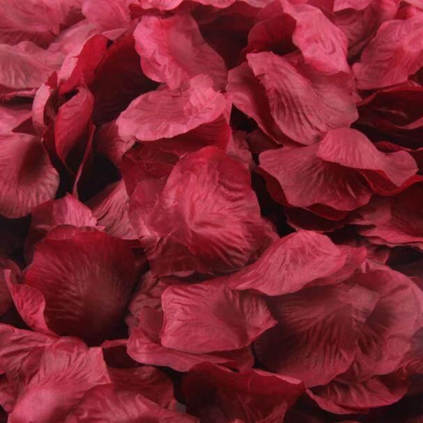 1000 Pcs Merah Marun Mawar Sutra Buatan Kelopak Bunga Pesta Pernikahan Dekorasi