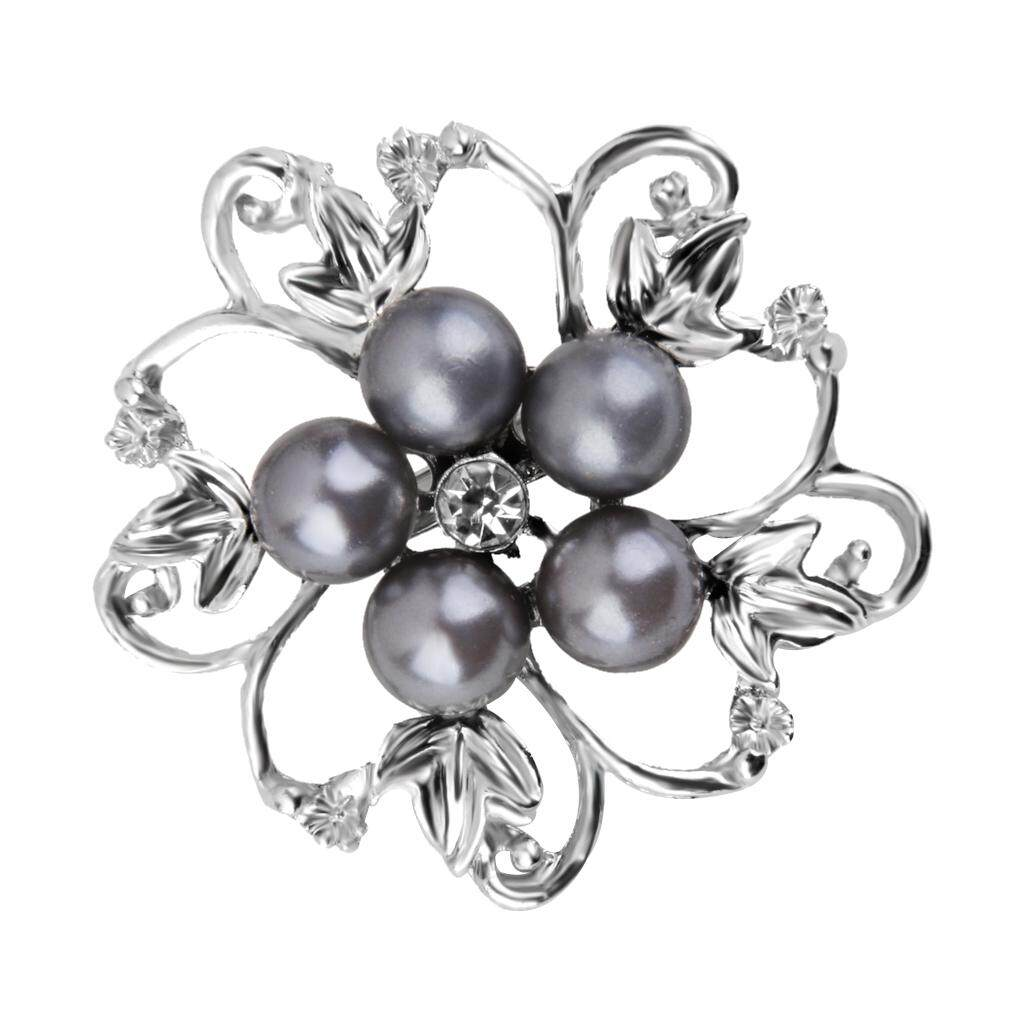 GuangquanStrade Charming Faux Pearl Crystal Flower Brooch Pin Wedding Bridal Ceremony Gift