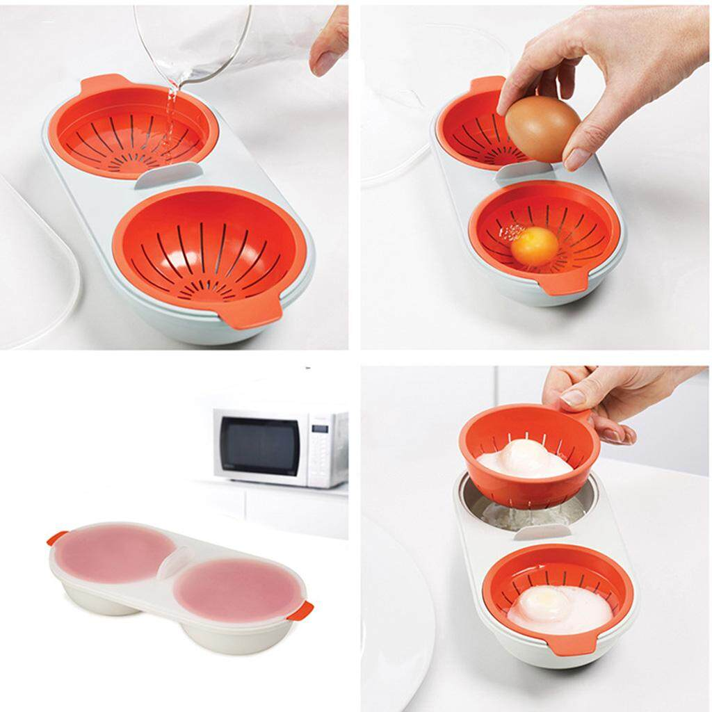 Bolehdeals Pack Of 2 Silicone Double Egg Poacher For Stovetop And Microwave By Bolehdeals.