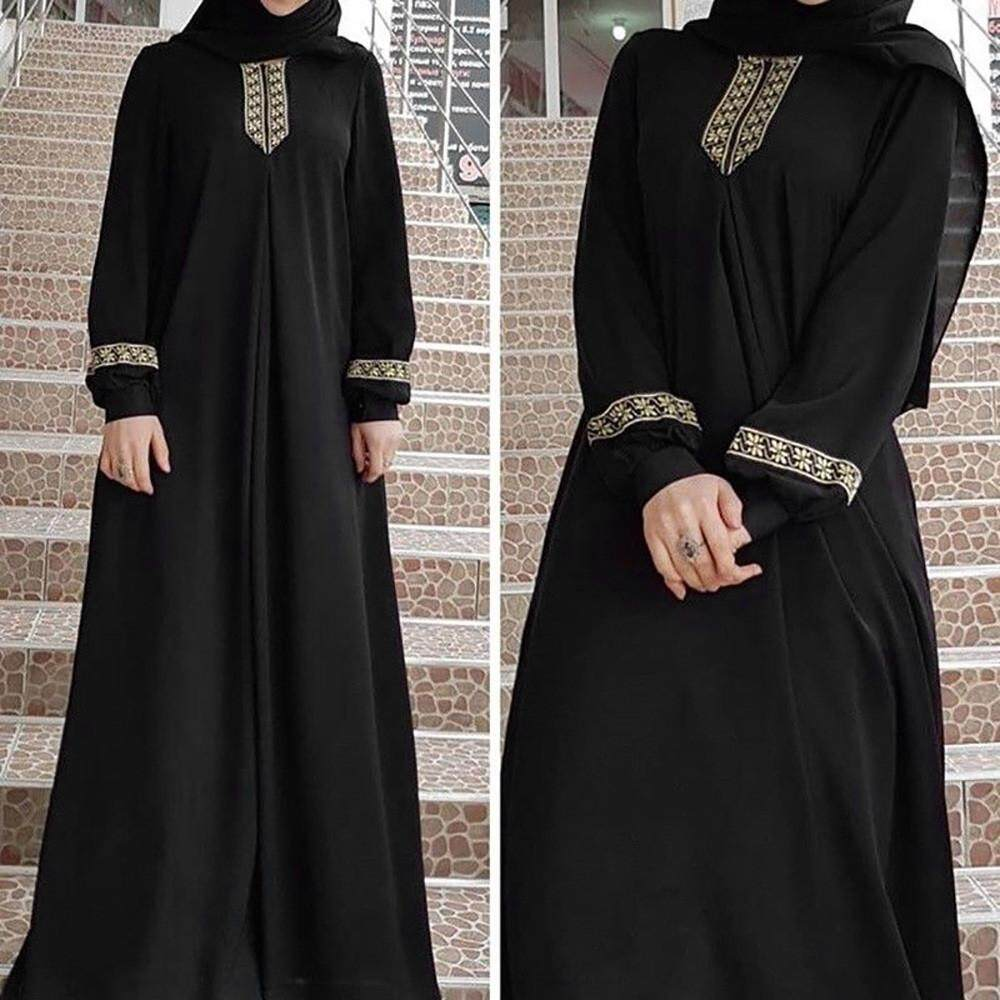 00bf70c866b1 KLEIN Women Plus Size Print Abaya Jilbab Muslim Maxi Dress Casual Kaftan  Long Dress