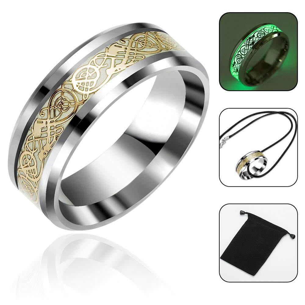Vankel Silver Celtic Dragon Rings For Men,stainless Steel Luminou Glow Wedding Band Jewelry -