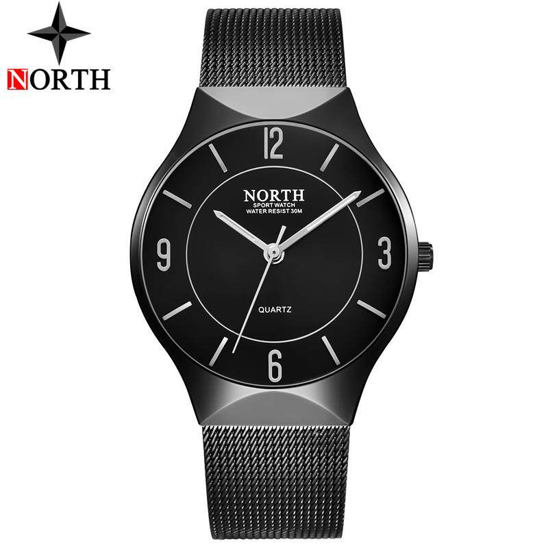 NORTH Watch Men Ultra Thin Mens Watches Top Brand Luxury Quartz Watch Steel Mesh Fashion Casual Sports Wristwatches Malaysia