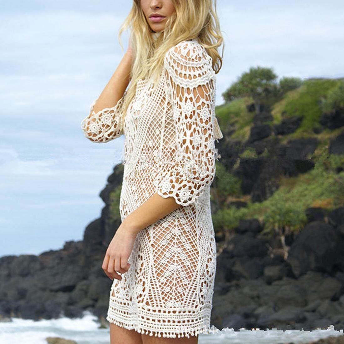 7fa78a3d88e2 New Summer Swimsuit Lace Hollow Crochet Beach Bikini Cover Up 3 4 Sleeve  Women Tops