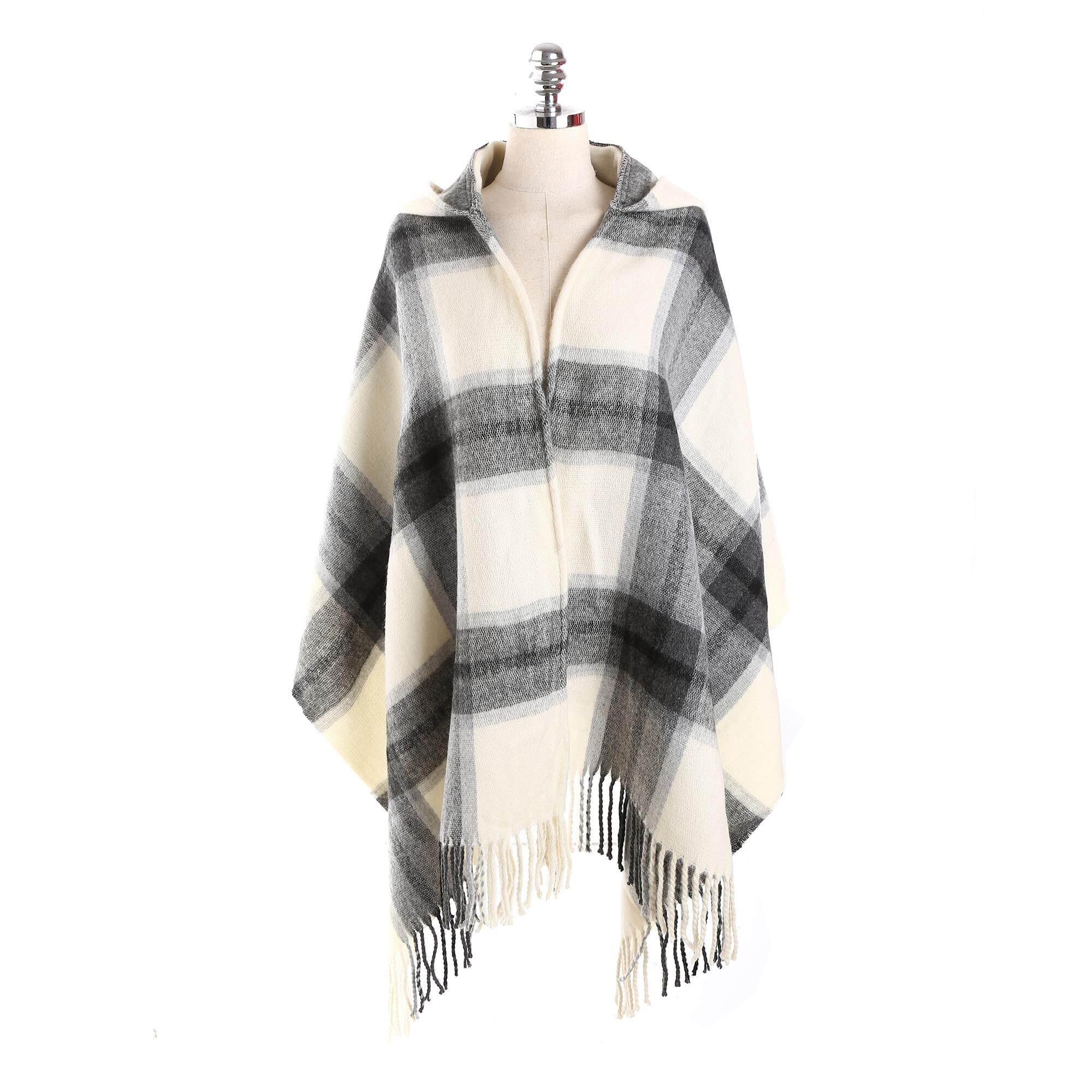 Women Winter Warm Tartan Cashmere Scarf New Designer Plaid Hood Hat Scarf Shawls Scarves Wraps By Moonbeam.