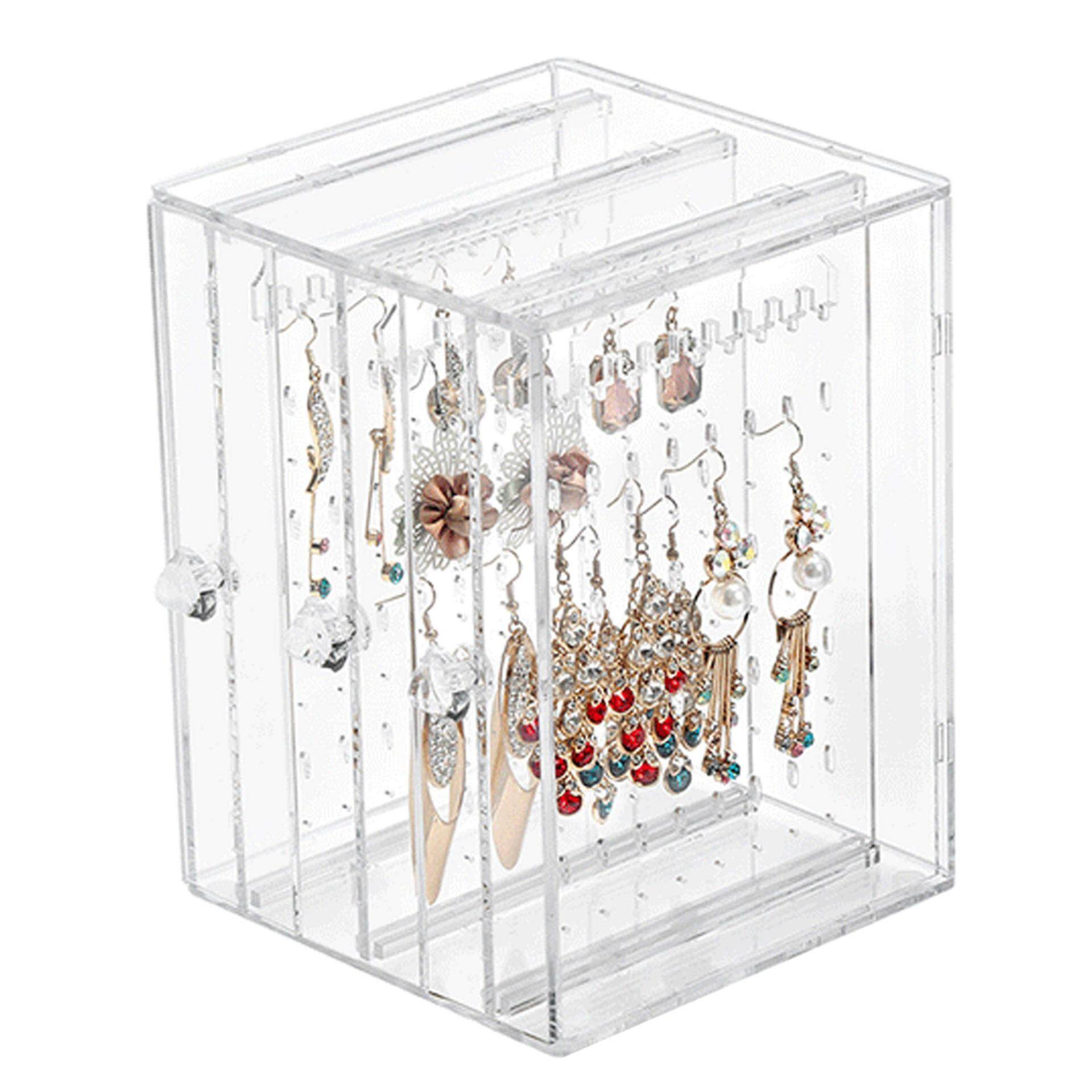 218 Holes Plastic Earring Display Stand Case Organizer Holder Jewelry Storage Box With 3 Vertical Drawer
