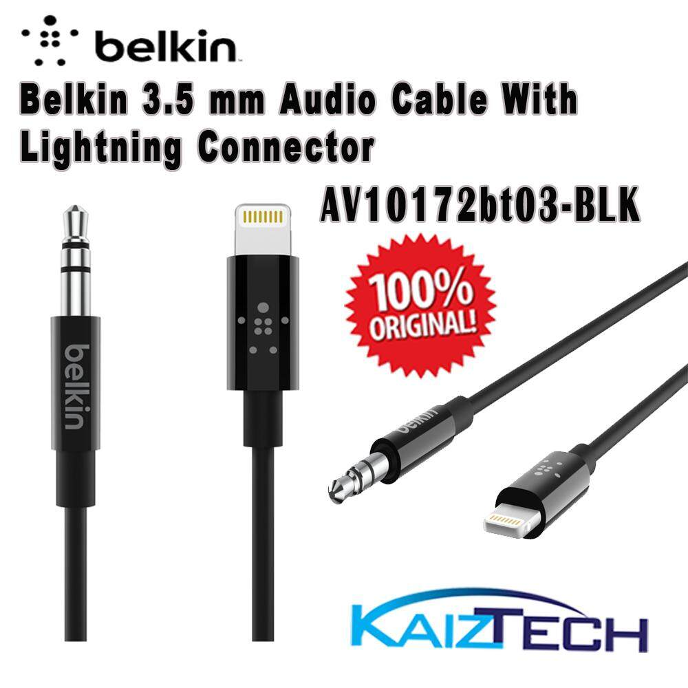Original Belkin 3.5 mm Audio Cable With Lightning Connector - 3 Feets - Made for: iPhone XS, iPhone XS Max, iPhone XR, iPhone X, iPhone 8, iPhone 8 Plus, iPhone 7, iPhone 7 Plus
