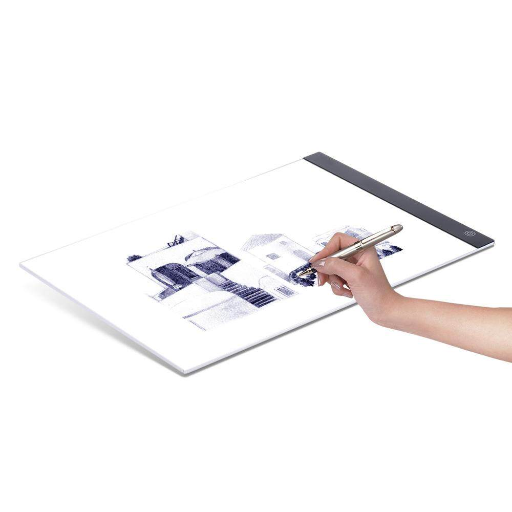 A4 Ultra-thin Portable LED Light Box Drawing Tracer Table Painting Tracing Pad Copy Board Panel with Stepless Dimmable Brightness Memory Function for Artist Animation X-Ray Viewing Tattoo Sketching Architecture Calligraphy Stenciling - intl