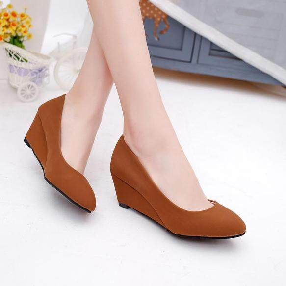 Giày Cao Gót Nữ, Bằng Da, Mũi Tròn, Có Cỡ Lớn, Thắt Nơ giá rẻ