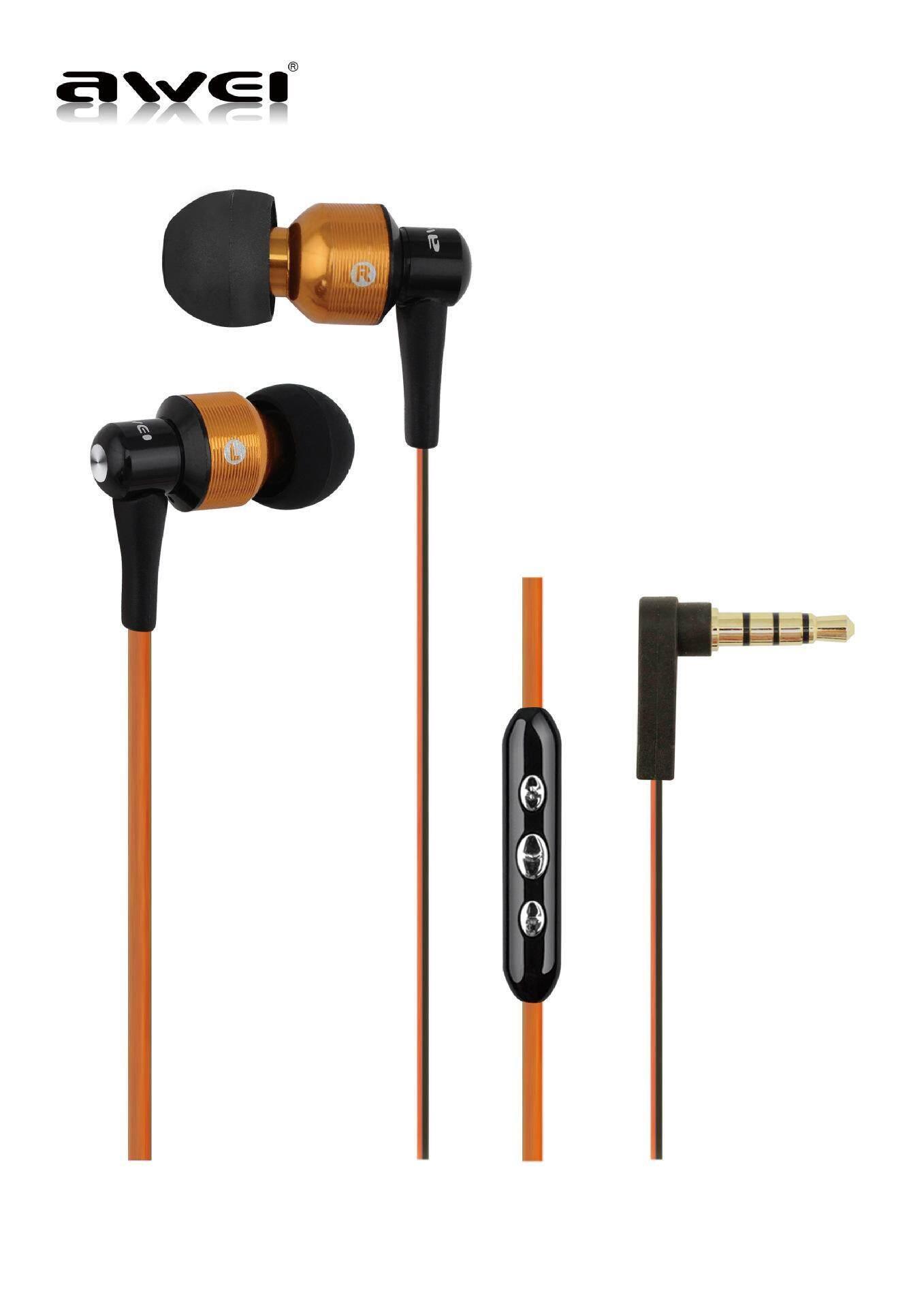 LD Pro Es Awei 55Vi Mode Terkini Putih Merah Muda Ungu Hijau Biru dan Oranye Super Bass Bergaya Suara Pelantang Telinga untuk Telepon Pintar Earphone dengan Mikrofon-Intl