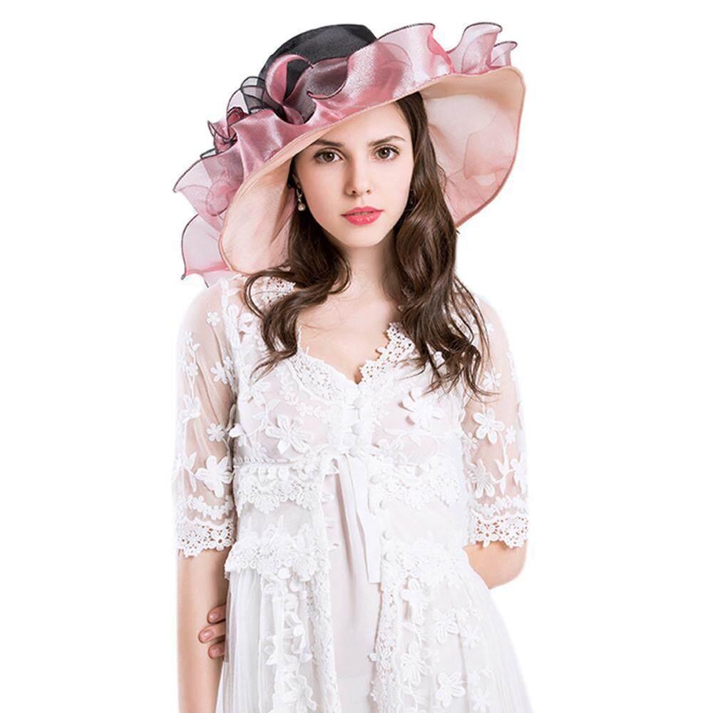 leegoal Young Women Race Hats Derby Hats Church Hat Organza Tea Party Banquet Wedding Hat - intl