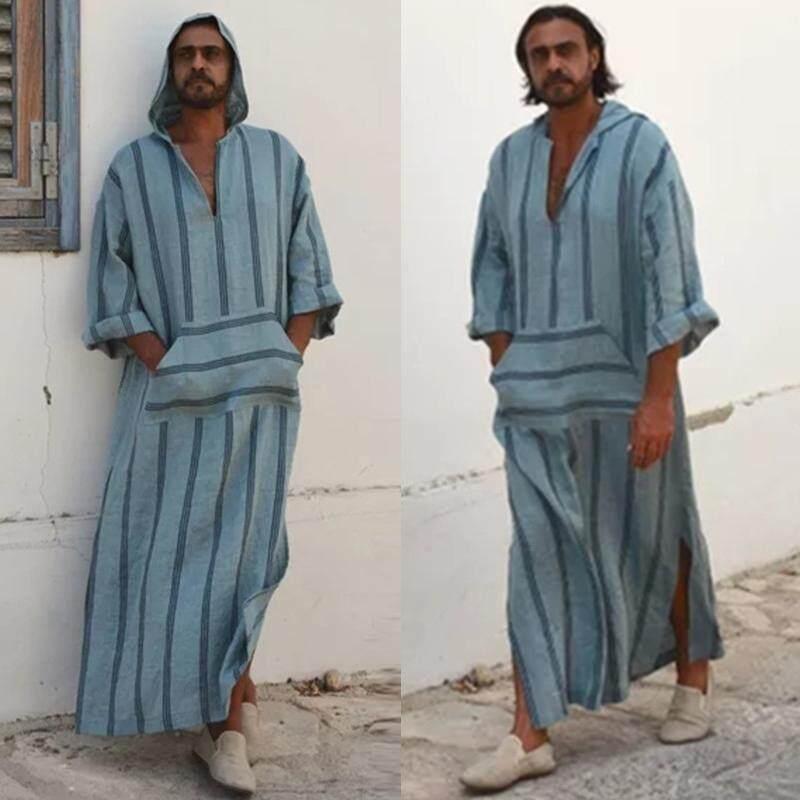 Hình ảnh INCERUN Mens Steel Blue Striped Kaftan Front Pocket V-neck Hooded Long Shirt - intl