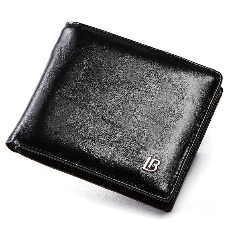 BOSTANTEN Men's Oil Wax PU Leather Tri-fold Wallets Zipper Coin Purse Wallet For Men