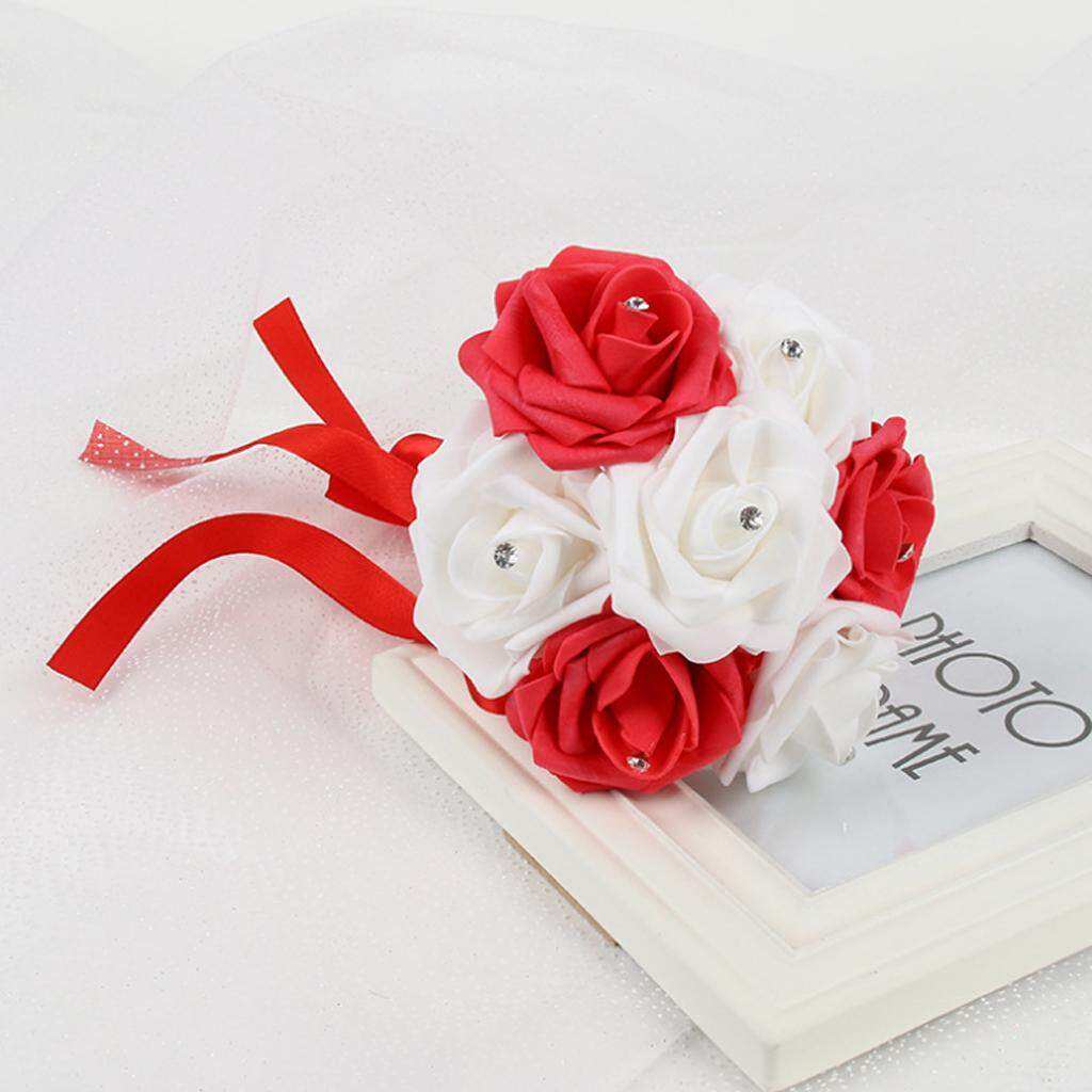 GuangquanStrade Wedding Bouquet Rose Foam Crystal Bride Bridesmaid Flower Red and White