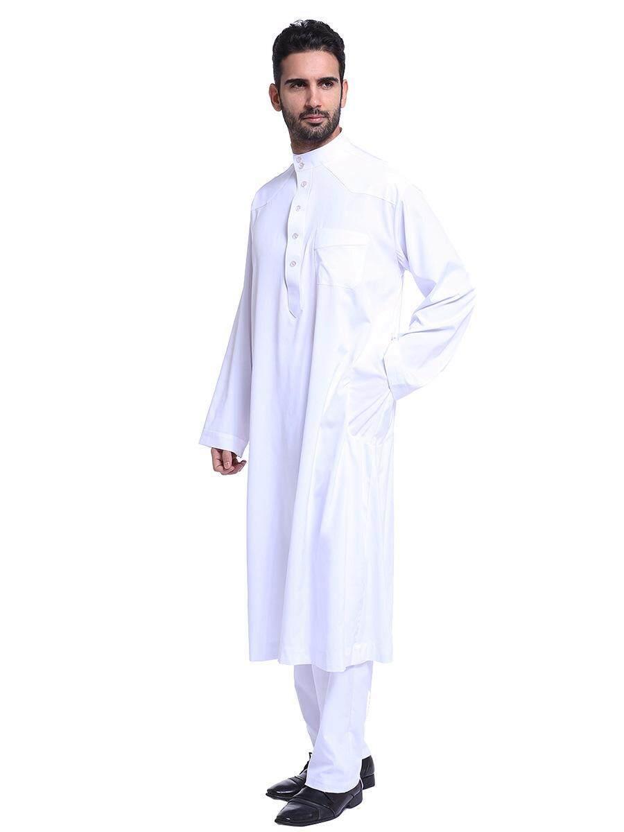 Bestoneday Arab Muslim Jubah Pria Thawb Kaftan Muslim Arabia Timur Tengah Pria Gamis Suit-Intl