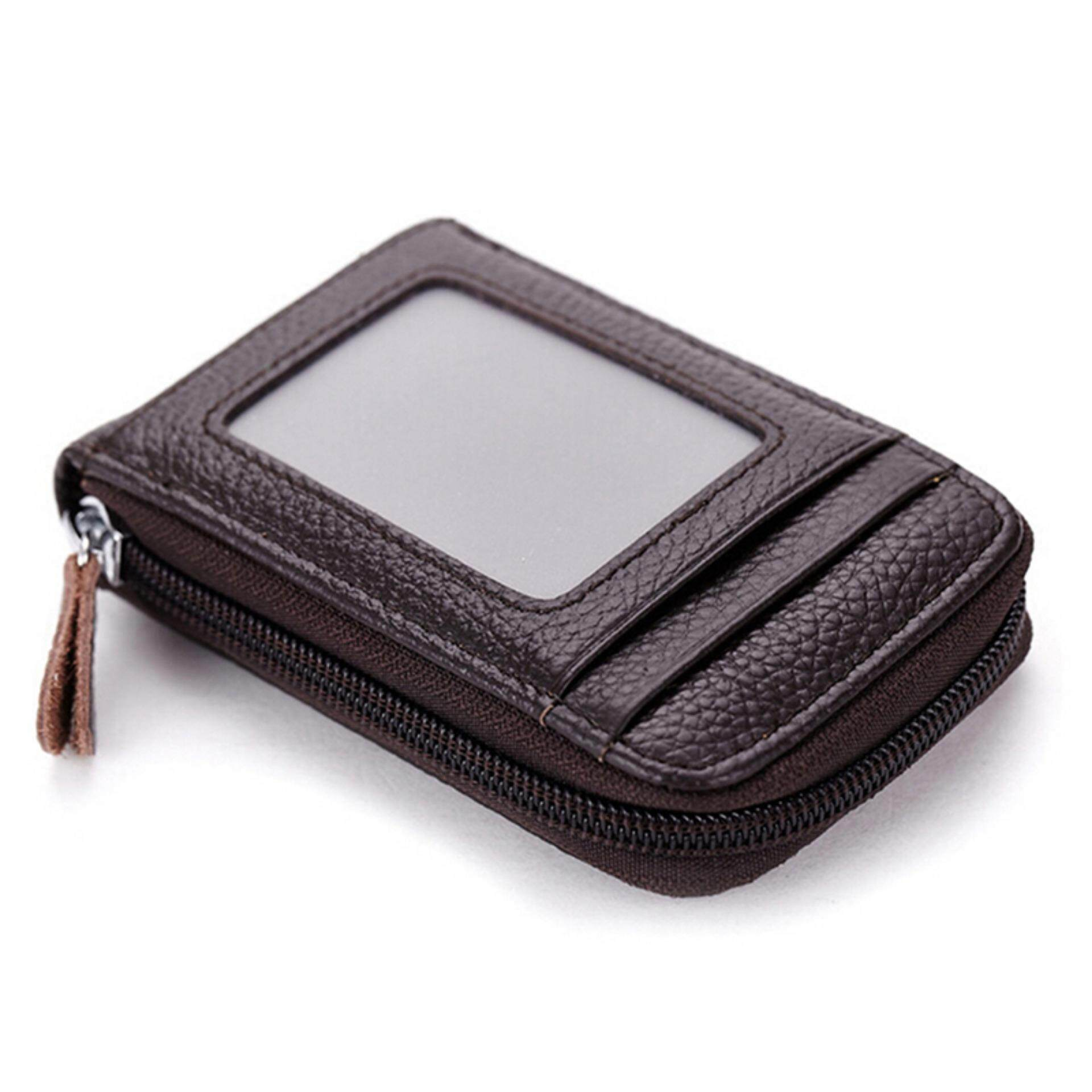 Pria Wanita Kartu Kredit ID Dompet Memblokir Zipper Kulit Tempat Kartu