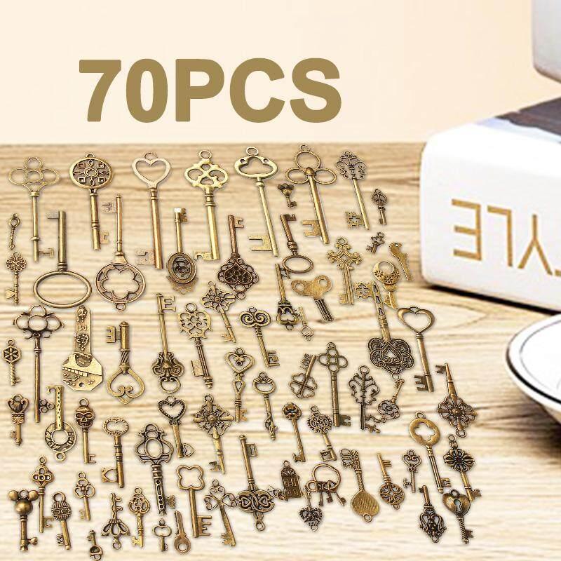70 cái Cổ Vintage Cũ Nhìn Đồng Đồng Phím Lạ Mắt Trái Tim Nơ Mặt Dây Chuyền Bộ