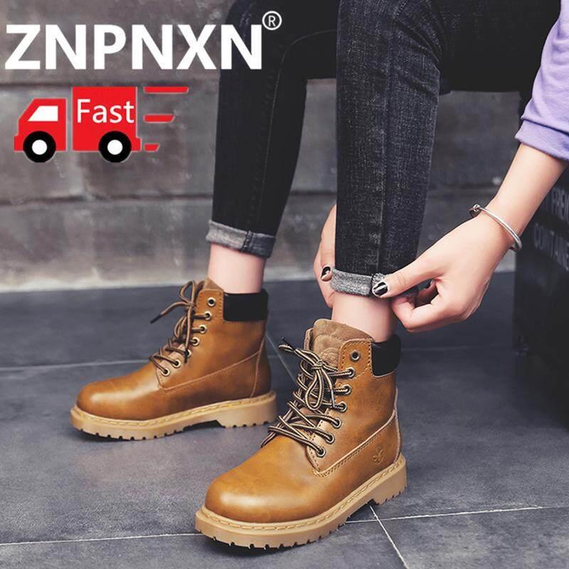 Znpnxn Sepatu untuk Wanita Boot Outdoor untuk Wanita Fashion Sepatu Bot Martin Wanita Kasual Tinggi Atas Sepatu Olahraga Fashion Wanita Sepatu Lokomotif Ukuran 35-39 [Pengiriman Gratis]