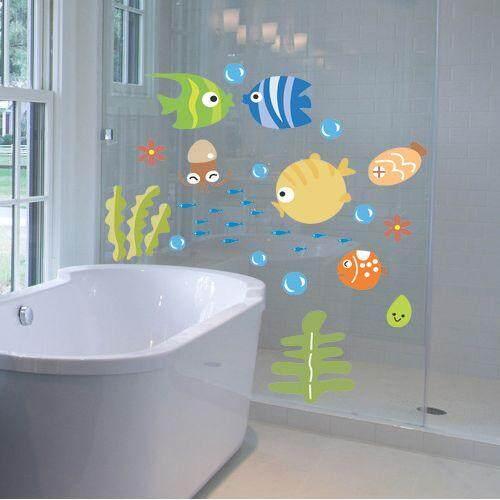 25*44 Cm Kartun Ikan Dinding Stiker Dekorasi Rumah Gelembung