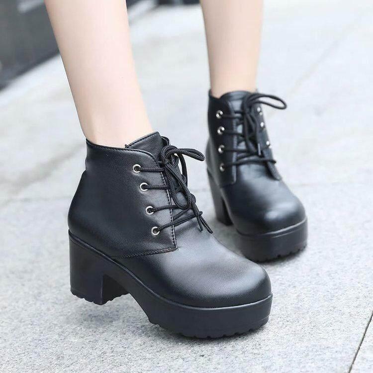Sepatu wanita musim gugur Sepatu bot tunggal model bulat tumit tinggi Retro  Boots Martin wanita ala dc9e963cc5