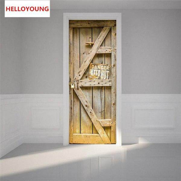 Dangerous Door Imitation 3D Door Stickers 2pcs/set DIY Mural Bedroom Home Decorative PVC Waterproof Wall Stickers
