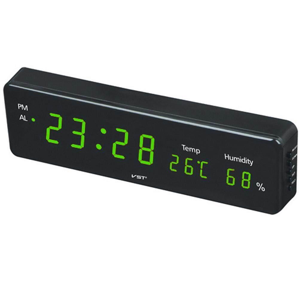 VST Besar Jumlah Besar LCD Digital Jam Dinding Meja Jam Tangan, meja Tulis Alarm Jam Dinding dengan Suhu Tunda Kalender (AS Steker)-Internasional