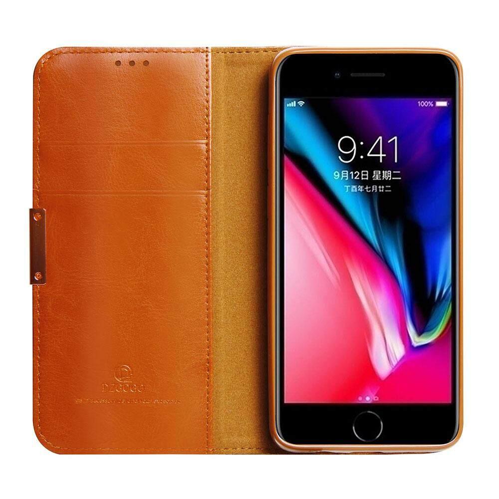 Asli Kulit Kasus untuk Iphone 6 6 S Lipat Sarung Mewah Pelindung Cangkang untuk iPhone 6 6 S Tendangan Penyangga fungsi dengan Kartu Saku