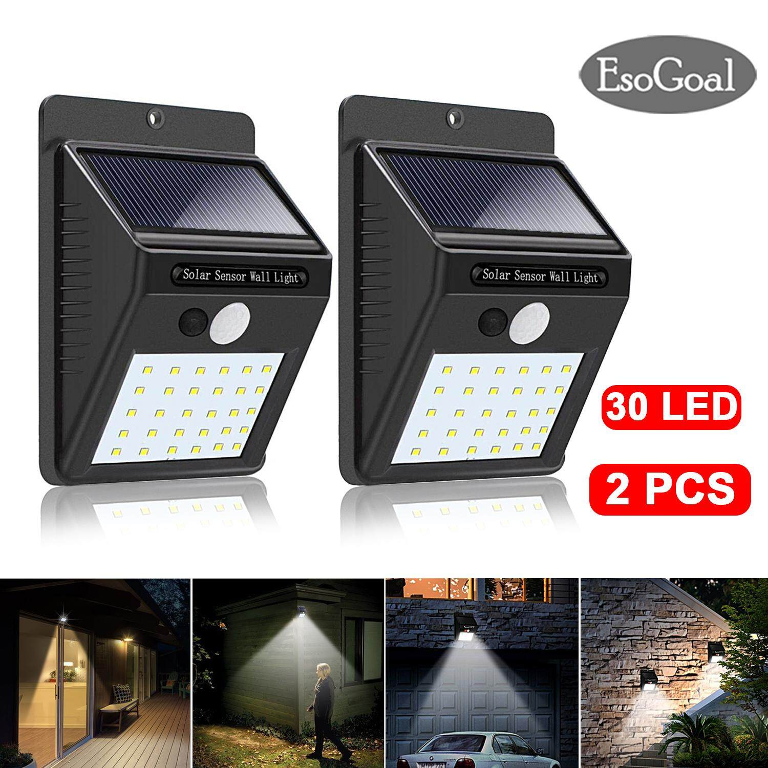 Esogoal 30 Led Solar Lights Outdoor Waterproof Powered Motion Sensor Light Wireless Security Outside