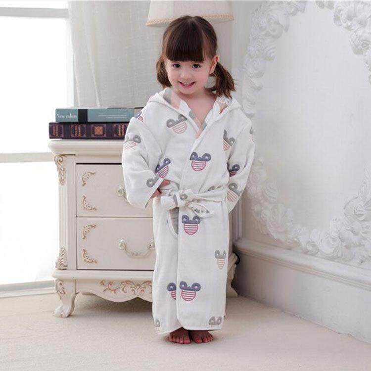 3c8bfbf826 Children s Bathrobes Kids Hooded Robe Baby Beach Bath Robe Kids Sleepwear  Boy Girls Cartoon Cotton Gauze