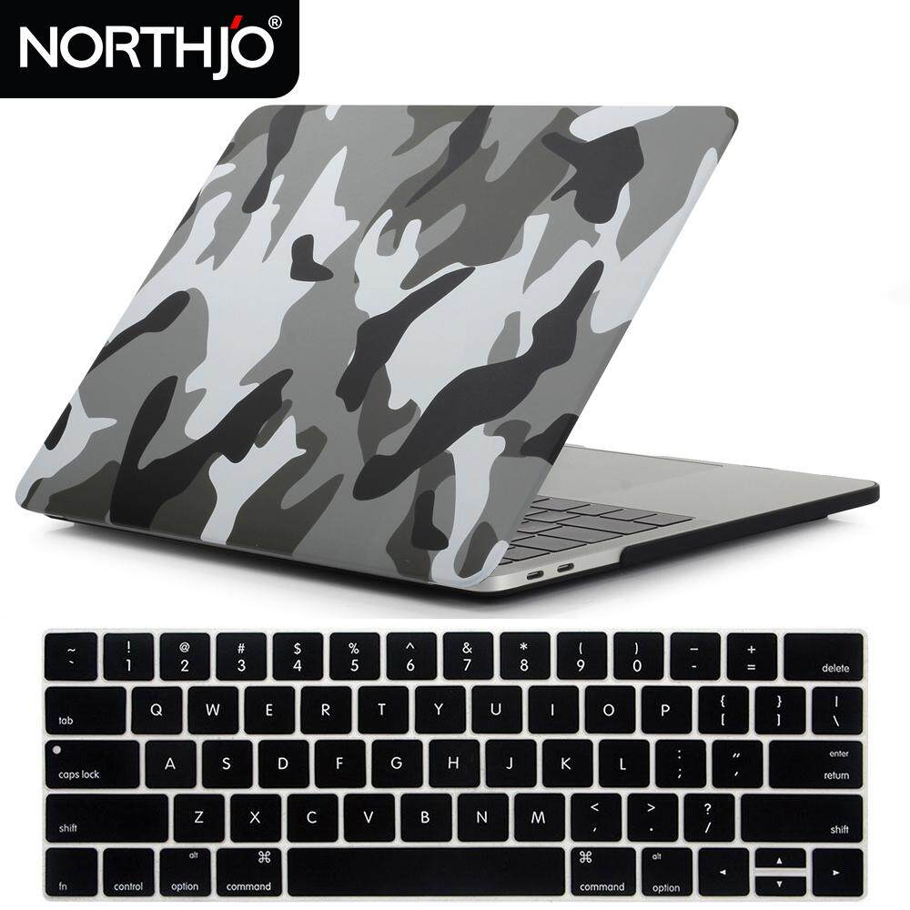 NORTHJO 2 in 1 Plastic Pattern Hard Case and Keyboard Cover for Macbook Pro 13 Inch with / without Touch Bar and Touch ID - Model: A1989/A1706/A1708 - Gray Camouflage