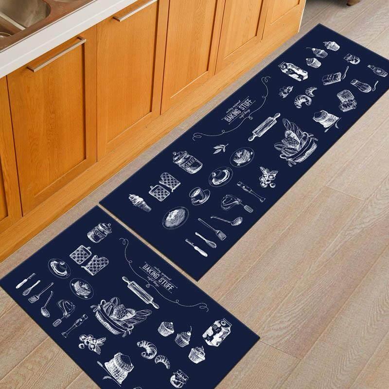 2pcs/set Black And White Flannel Kitchen Floor Mat Anti-Slip Kids Bedroom Carpet Entrance Doormat Hallway Area Rug 40x60cm and 40x120cm - intl