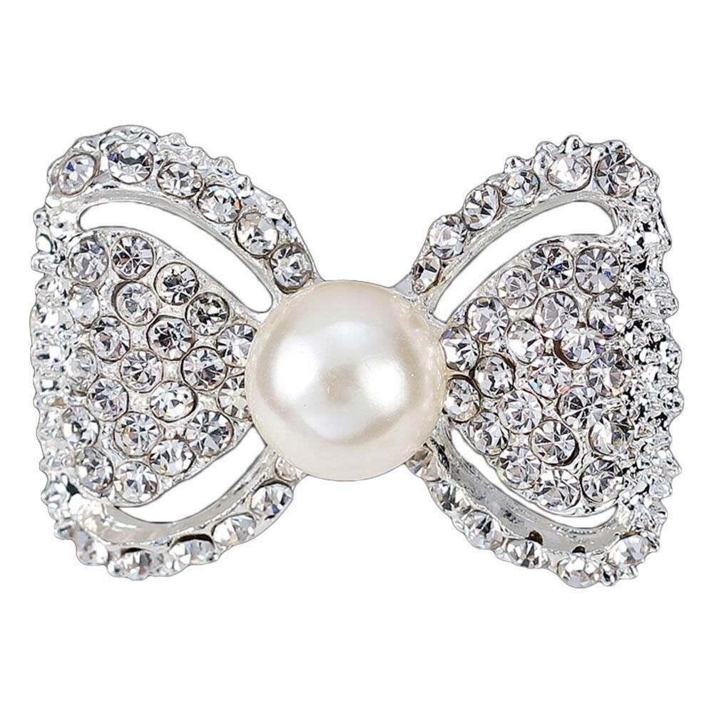 Linfang Wanita Temperamen Dasi Kupu-kupu Elegan Bentuk Penuh Berlian Imitasi Mengkilap Bros Intan-