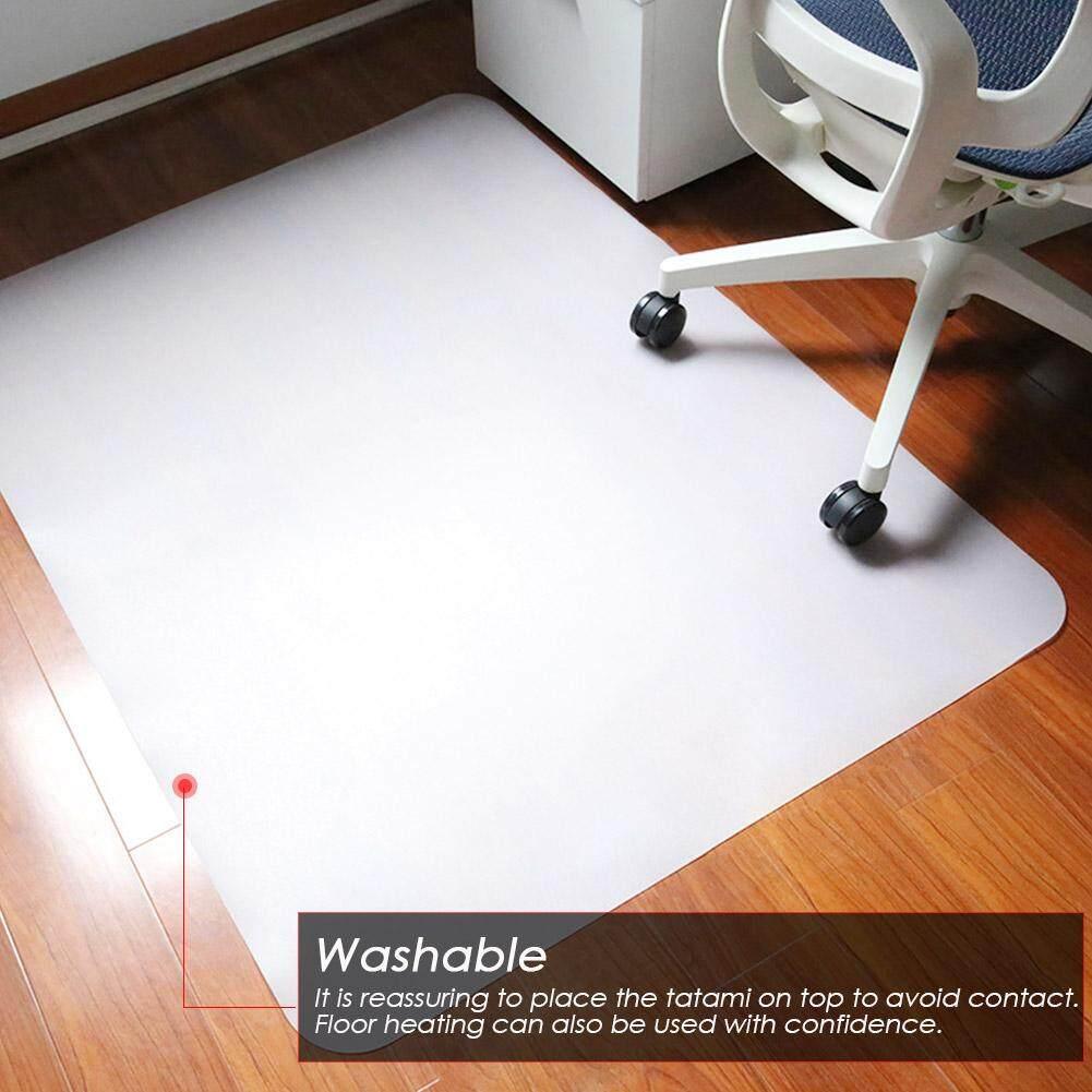 PERRR PE1200*900*1.8MM Non-Slip Wear-Resistant Transparent Environmentally Friendly Chair Cushion Lip-Shaped Square Floor Carpet Protective Mat