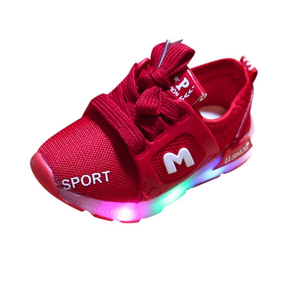 CNB2C Balita Bayi Perempuan Lampu LED Sepatu Laki-laki Lembut Bercahaya Outdoor Sandal Olahraga