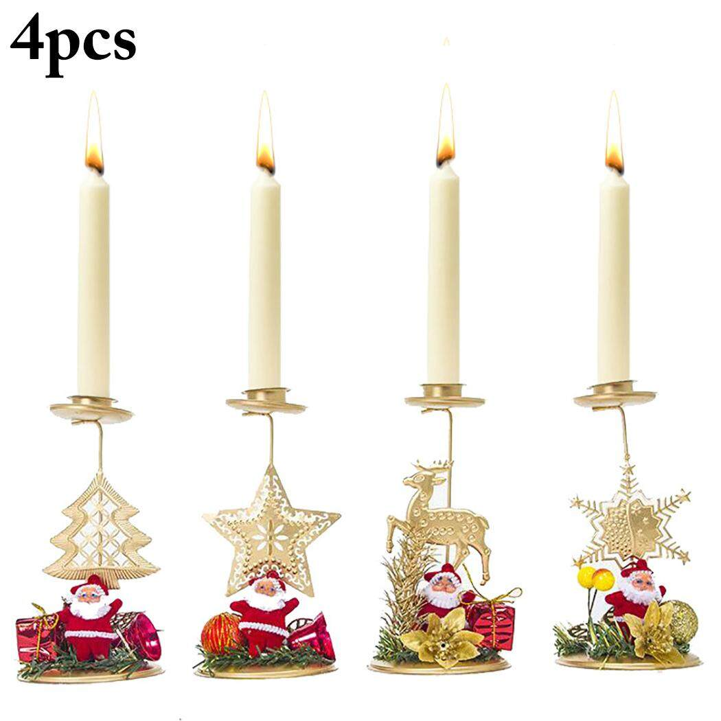 4PCS Christmas Candle Holder Fashion Cute Santa Metal Candle Holder Xmas Decor