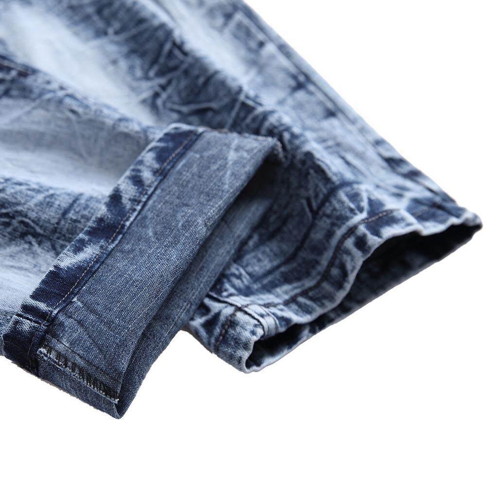 Echomenshop Pria Kasual Musim Gugur Lurus Robek Denim Robek Lubang Celana Celana Jeans .