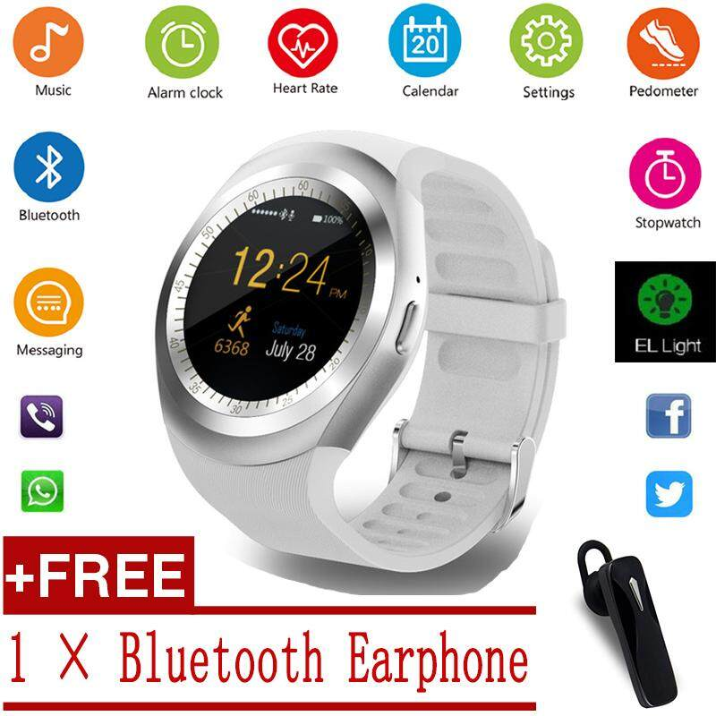 [Get 1 × Bluetooth Earphone] Y1S 1.54inch Bluetooth Smart Watch TF Card GSM Sleep Monitor Alarm Clock Pedometer Smart Bracelet Wirstband For Android IOS Smartphone