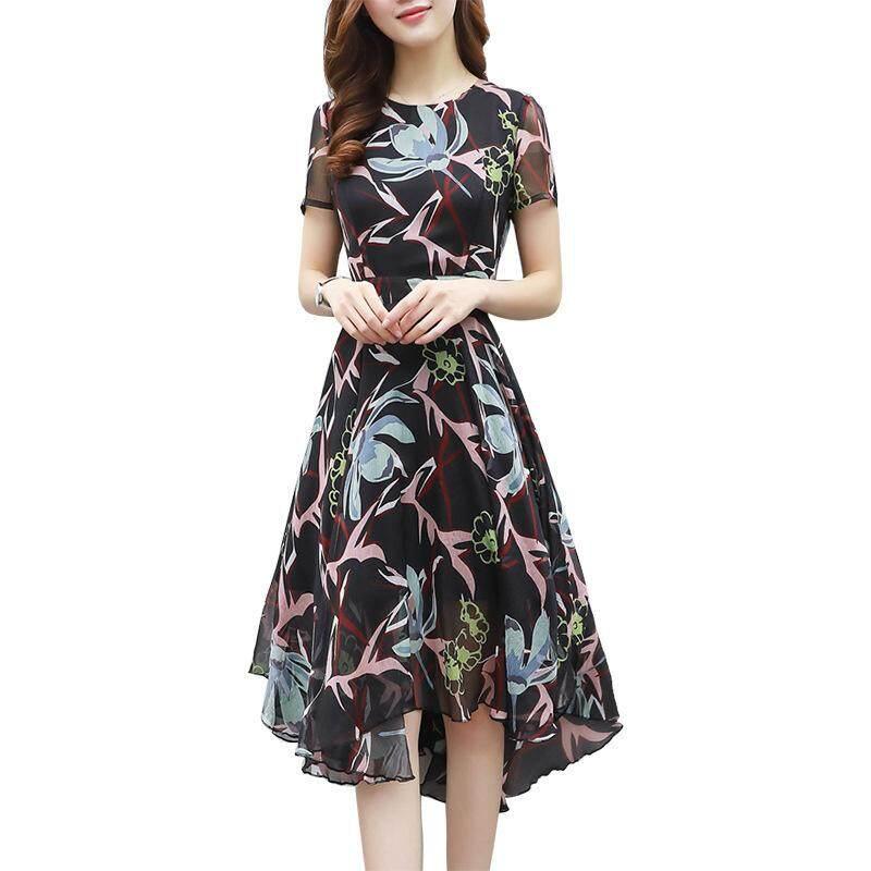 004d452eda905 2018 Summer New Women's Fashion Korean Temperament Slim Size Short-sleeved  Skirt Printed Chiffon Dress