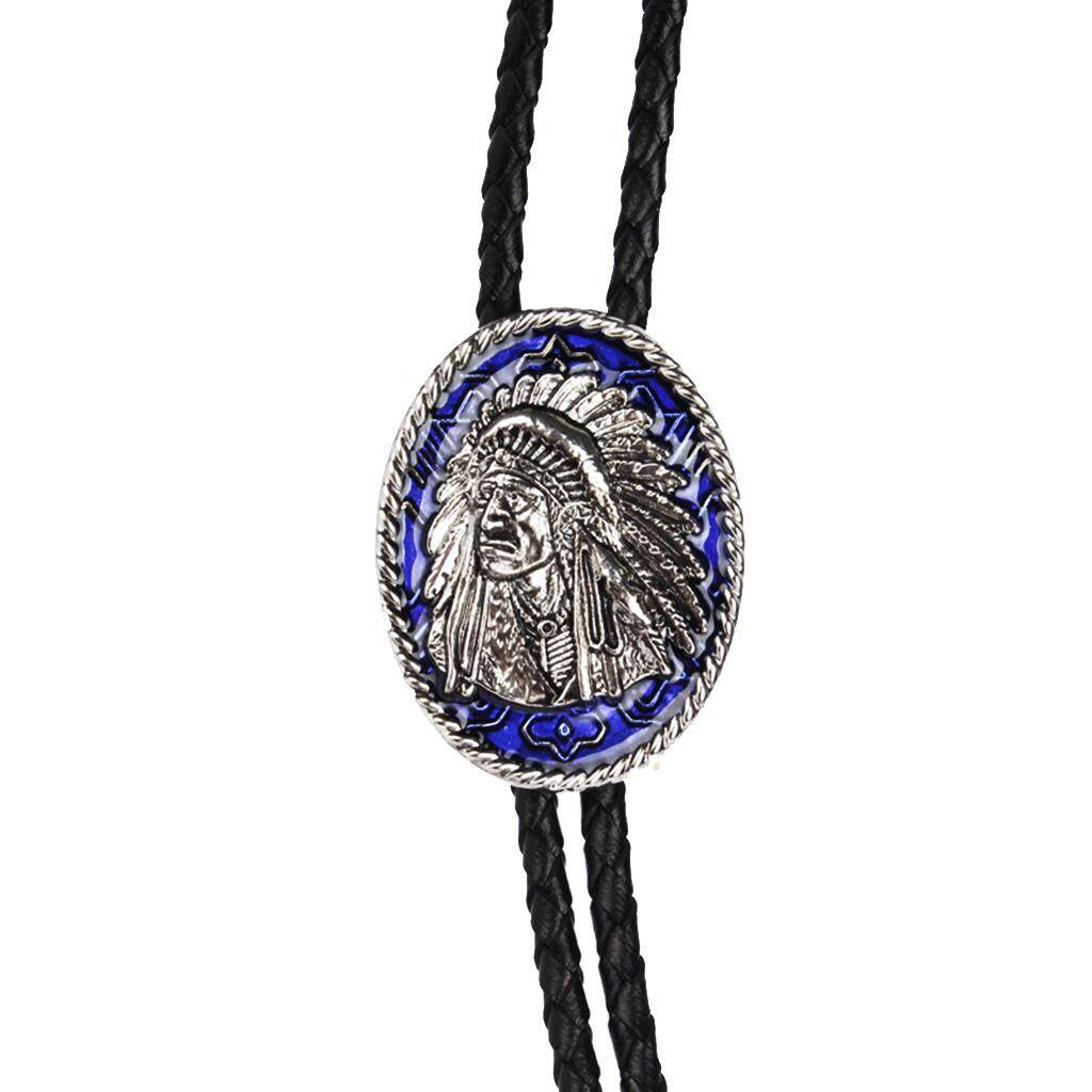 BolehDeals Fashion Indian Chief of A Tribe Western Cowboy Rodeo Bolo Tie Tie Bola Pendant Necklace