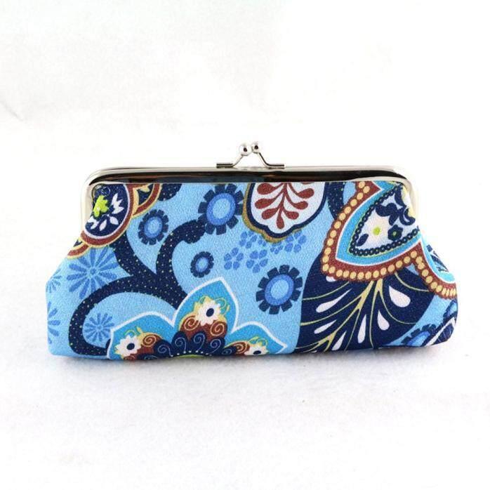 Wanita Wanita Vintage Jaman Dulu Printing Dompet Panjang Berkait Kupu-kupu Tas Tangan