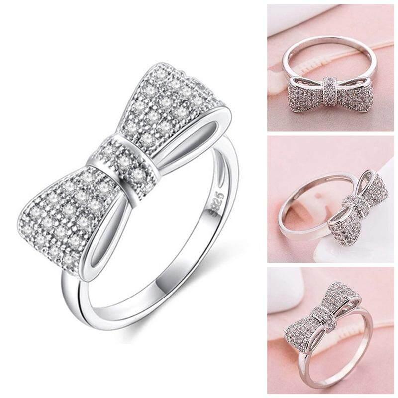 Detail Gambar Kuhong Mode untuk Wanita Manis Bentuk Busur Kualitas Tinggi Bersinar Cincin Berlian Terbaru