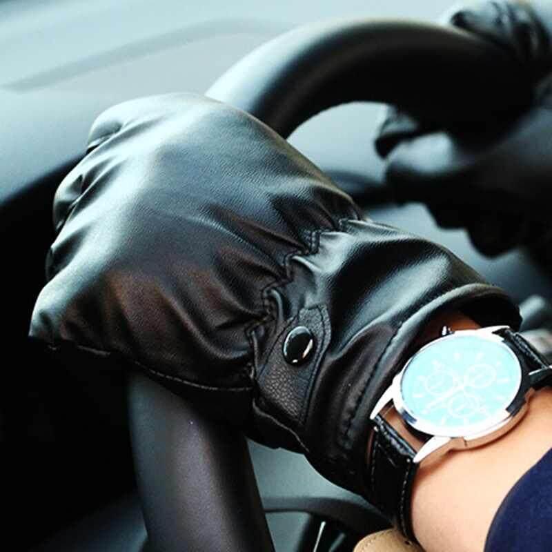 1 คู่ถุงมือหนังสีดำผู้หญิงผู้ชายถุงมือหนังแบบอบอุ่นถุงมือฤดูหนาว.